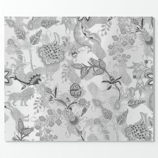 Papel De Presente Lux floral das cinzas de prata dos leões mágicos