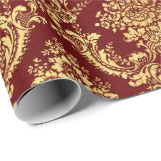 Papel De Presente Lux marrom floral do vermelho de Borgonha do