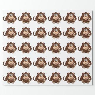Papel De Presente Macaco mudo com desenhos animados da banana