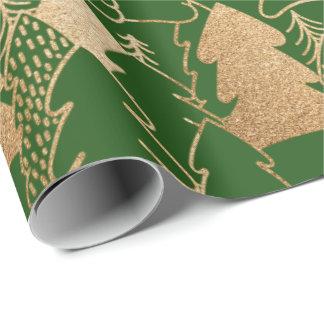 Papel De Presente Madeira do brilho do ouro verde de árvore de Natal
