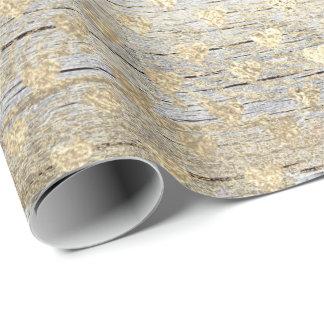 Papel De Presente Madeira gasto metálica do ouro dos confetes do