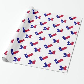 Papel De Presente Mapa da bandeira de Texas com bandeira