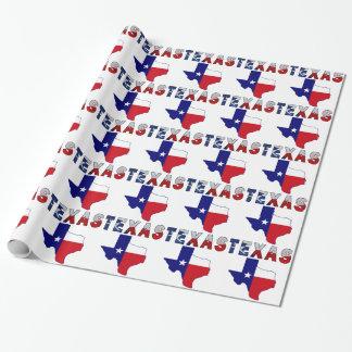 Papel De Presente Mapa da bandeira de Texas com Texas