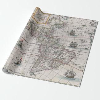 Papel De Presente Mapa de Parime do lago vintage da América