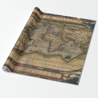 Papel De Presente Mapa do mundo antigo colorido do vintage