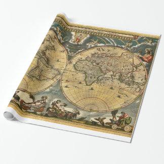 Papel De Presente Mapa do mundo antigo J. Blaeu 1664