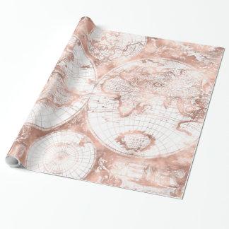 Papel De Presente Mapa do mundo cor-de-rosa da antiguidade do brilho