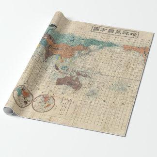 Papel De Presente Mapa do mundo do japonês do vintage