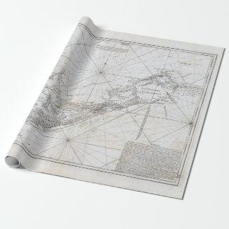 Papel De Presente Mapa do vintage de Bermuda