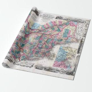 Papel De Presente Mapa do vintage de Nova Inglaterra
