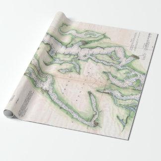 Papel De Presente Mapa do vintage de Seattle e de Puget Sound