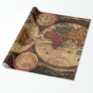 Papel De Presente Mapa do vintage do mundo (1730) - estilizado