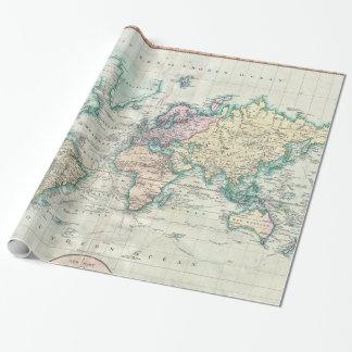 Papel De Presente Mapa do vintage do mundo (1801)
