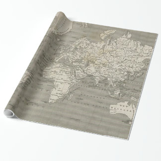 Papel De Presente Mapa do vintage do mundo (1820) 2