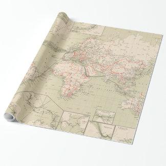 Papel De Presente Mapa do vintage do mundo (1898)