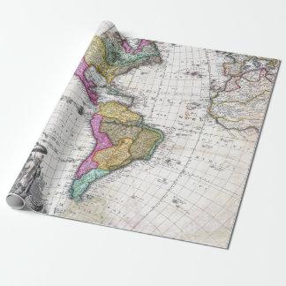 Papel De Presente Mapa do vintage do norte e da Ámérica do Sul 1746