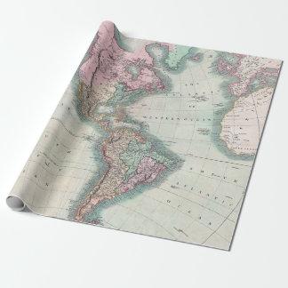 Papel De Presente Mapa do vintage do norte e da Ámérica do Sul 1806