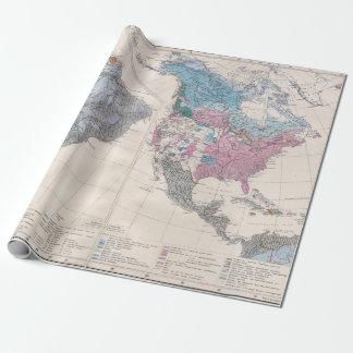 Papel De Presente Mapa do vintage do norte e da Ámérica do Sul 1880