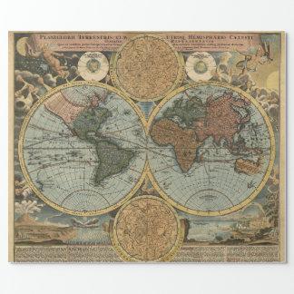Papel De Presente Mapa velho da cartografia antiga do vintage do