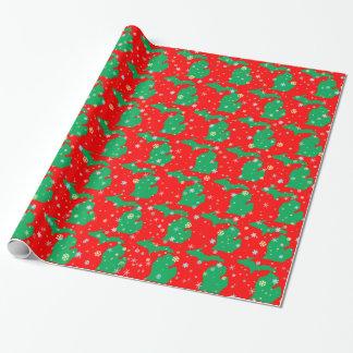Papel De Presente Mapa verde e vermelho festivo de flocos de neve de