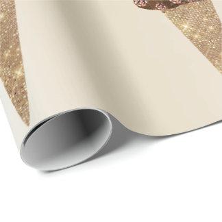 Papel De Presente Marfim cor-de-rosa metálico do ouro do chocolate