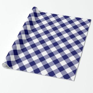 Papel De Presente Marinho diagonal e xadrez verificada branco