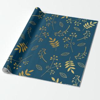 Papel De Presente Marinho floral botânico da folha de ouro do falso