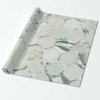 Papel De Presente Mármore da prata do Aqua de Tiffany da hortelã do