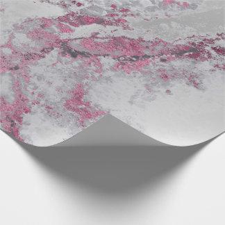 Papel De Presente Mármore metálico cor-de-rosa dos cursos das cinzas
