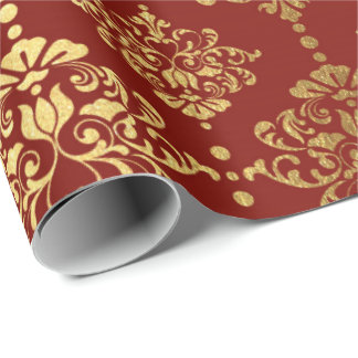 Papel De Presente Marrom real de Borgonha do ornamento floral do