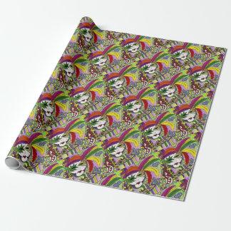Papel De Presente Máscara psicadélico da pena do carnaval