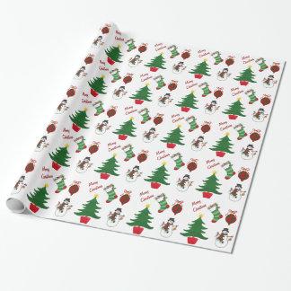 Papel De Presente Meia do Natal & árvore - papel de envolvimento