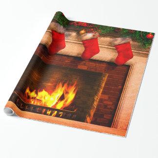 Papel De Presente Meias do Natal e papel de envolvimento da lareira