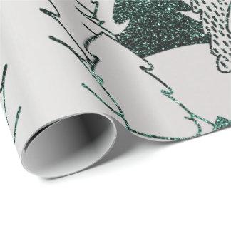 Papel De Presente Metal das cinzas de prata do verde do brilho da