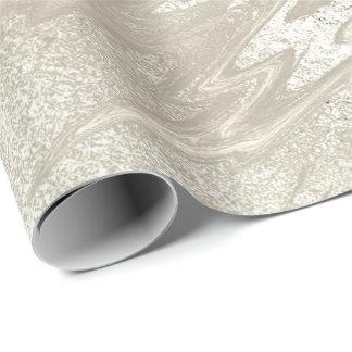 Papel De Presente Metal Pastel derretido Titani do mármore branco do