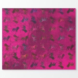 Papel De Presente Metálico de vidro cor-de-rosa roxo marrom de