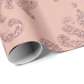Papel De Presente Metálicos reais do ouro do rosa de damasco coram