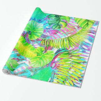 Papel De Presente Meu aloha jardim colorido abstrato da folha