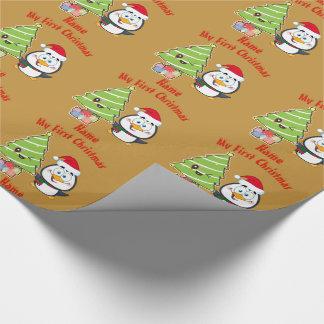 Papel De Presente Meu PRIMEIRO pinguim do Natal GIFTWRAP