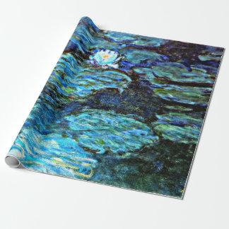 Papel De Presente Monet - lírios de água (azuis)