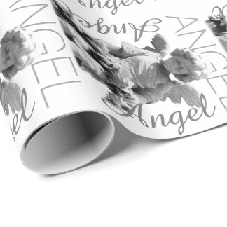 Papel De Presente Monograma retro preto e branco do anjo-da-guarda