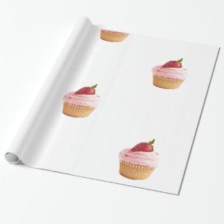 Papel De Presente Motivo do cupcake da morango