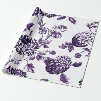 Papel De Presente Mulberry profundo Toile floral botânico roxo
