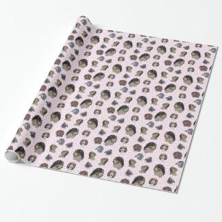Papel De Presente Multi cães com paws. cor-de-rosa