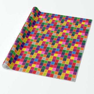 Papel De Presente Multi quadrados e listras coloridos femininos
