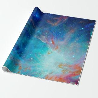 Papel De Presente NASA cintilante do azul da nebulosa de Orion