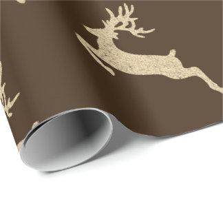 Papel De Presente Natal de Kraft do Sepia do bronze do ano novo de