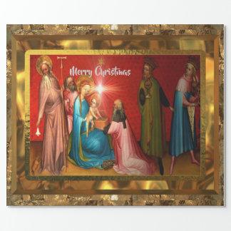 Papel De Presente Natal de visita de Jesus do bebê (15 pés) lustroso