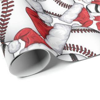 Papel De Presente Natal do basebol com chapéus do papai noel