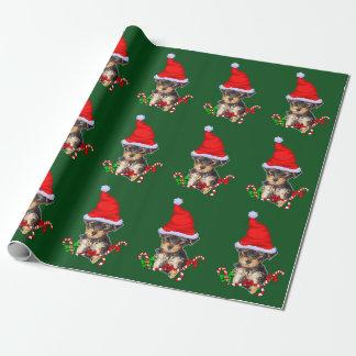 Papel De Presente Natal do papai noel de Yorkie